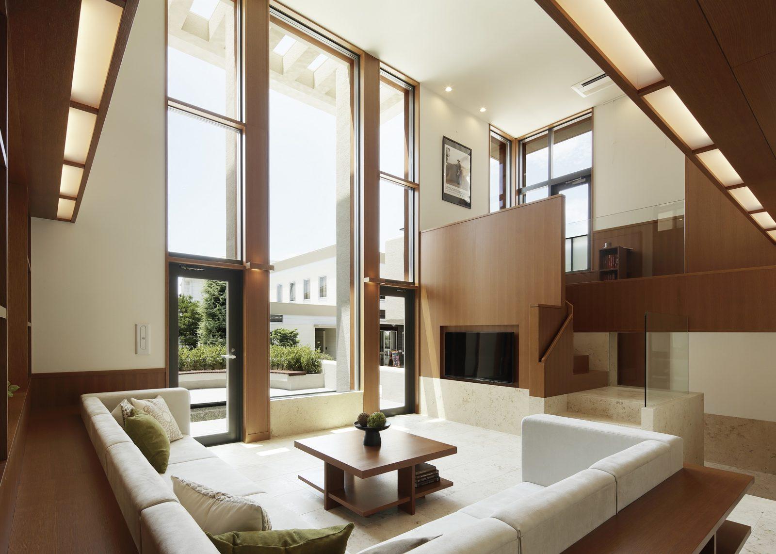 吹抜けのリビング オーガニックハウス北九州イコーハウス 新築デザイン住宅moonstreamスタイル