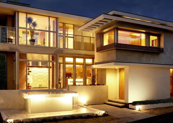 北九州の高級デザイン住宅新築外観スタイル「インテグラル」夜景【オーガニックハウス北九州中央】