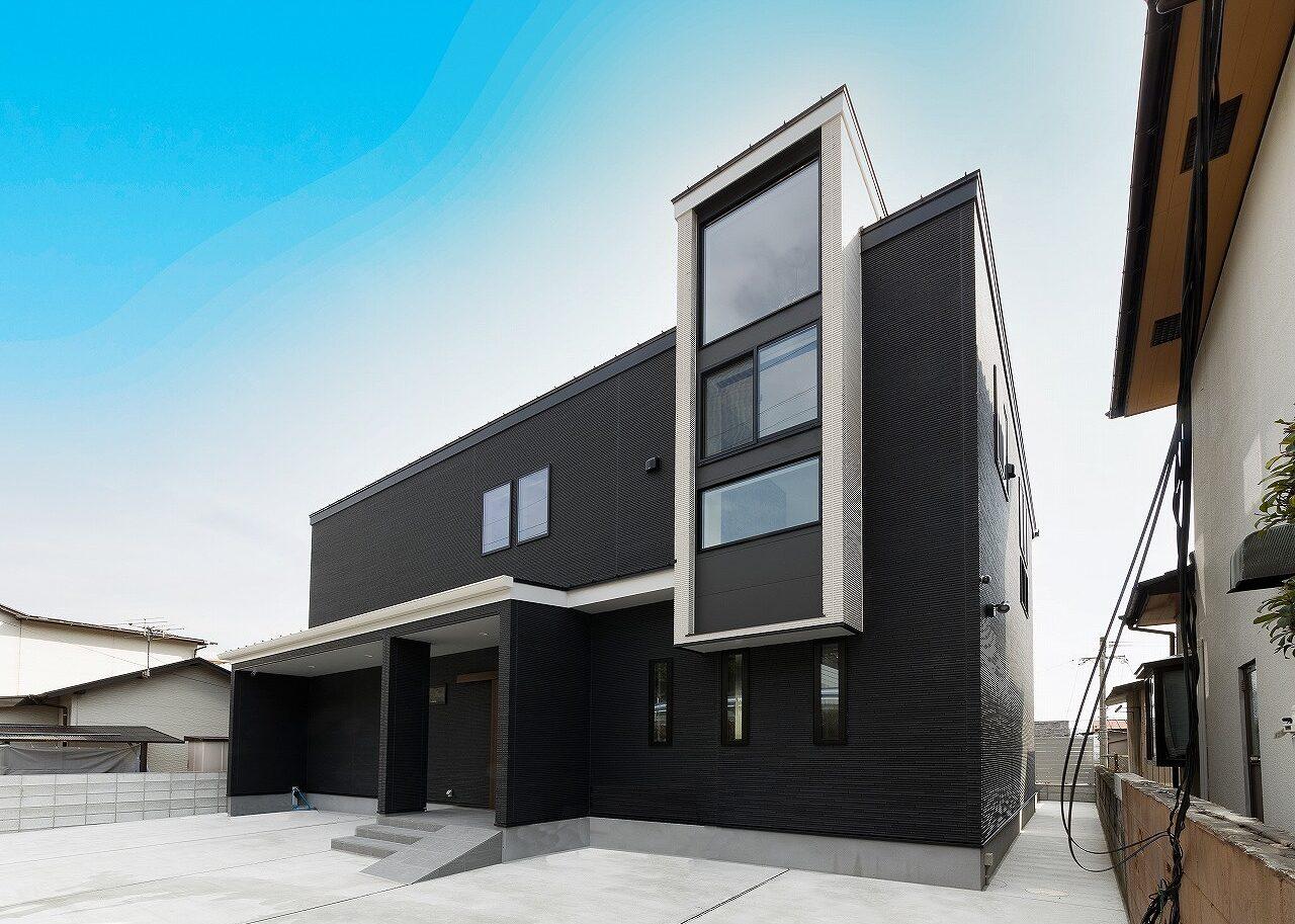 北九州デザイン新築住宅外観シンプルブラック オーガニックハウス